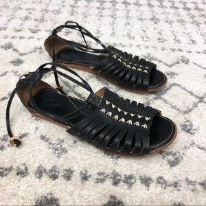 OluKai Hikina Black Leather Strappy Wrap Sandals